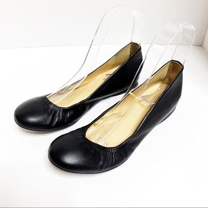 J.Crew Black Leather Ballet Flats 5.5